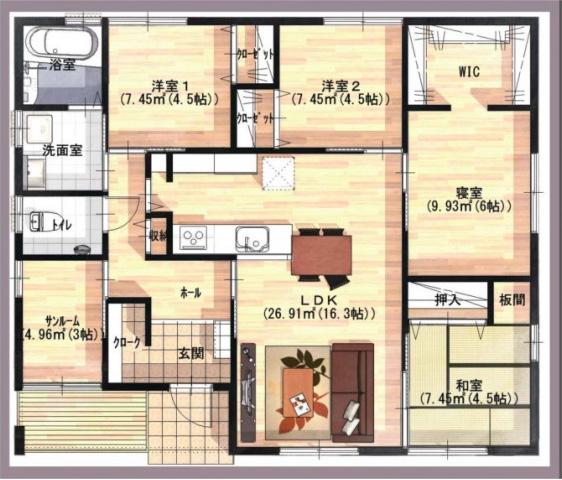 ユニバーサルホーム 平屋建て分譲モデルハウスの間取り