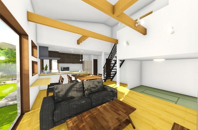 七呂建設 鹿児島市吉野町にて「吹抜けリビングの開放感と段下がり和室の落ち着きに憩う家」の完成見学会