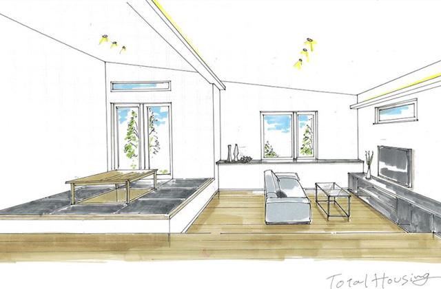 トータルハウジング 鹿屋市寿にて新築分譲住宅「暮らしの真ん中にキッチンがある段差を活かした平屋のお家」の完成見学会