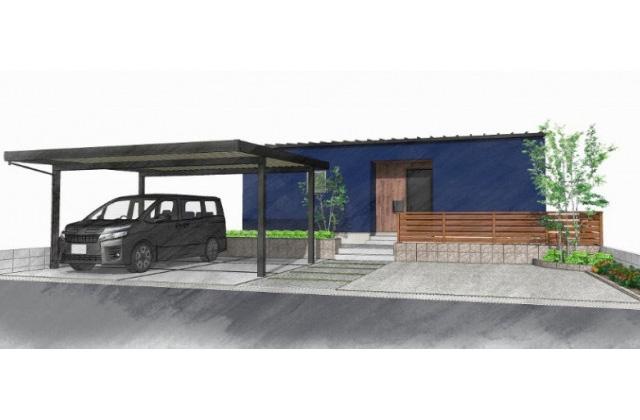 ユニバーサルホーム 指宿市にて「中庭のあるコの字型の平屋」など2棟同時完成見学会