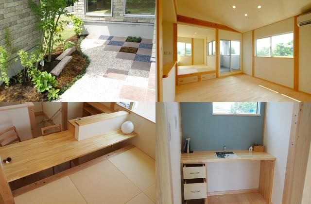 感動 2階リビングから桜島を望む真壁工法の桧住宅