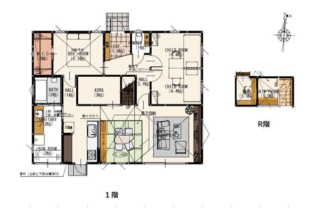 間取り図 - 姶良モデルハウス「自然素材の健康住宅&IoTを駆使したスマートハウスな平屋」(姶良市)