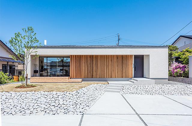 外観 平佐モデルハウス「カヴァードポーチのある平屋」(薩摩川内市)