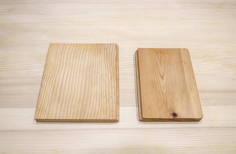 木の切り方は、左が柾目(まさめ)、右が板目