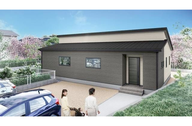 かえるホーム 神宮3丁目 4LDK 新築一戸建て「勾配天井で明るく開放的なリビングダイニングのある平屋」(霧島市)