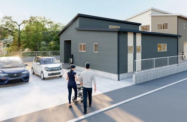 かえるホーム 神宮6丁目 4LDK 新築一戸建て「勾配天井で明るく開放的なリビングダイニングのある平屋」(霧島市)
