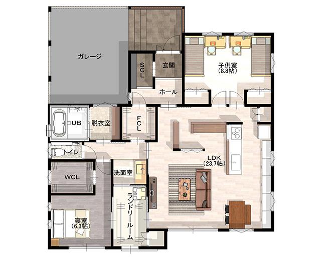 鎌田建設 モデルハウスの間取り