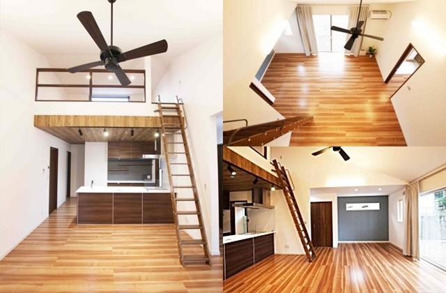 国分ハウジング 建築事例 シーリングファンのある勾配天井のLDK+ロフトがある家