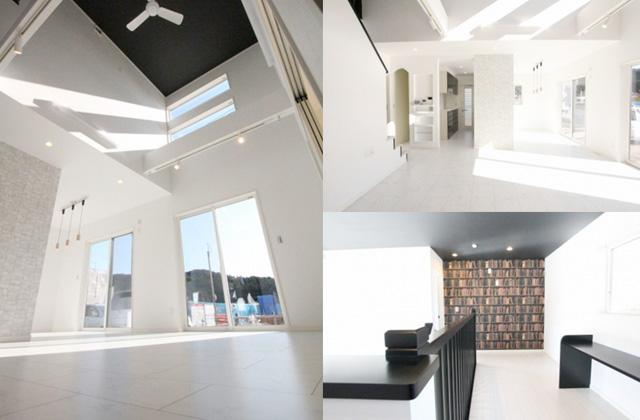 国分ハウジング 建築事例 開放的な吹き抜けに白を基調とした明るく洗練された内観の家