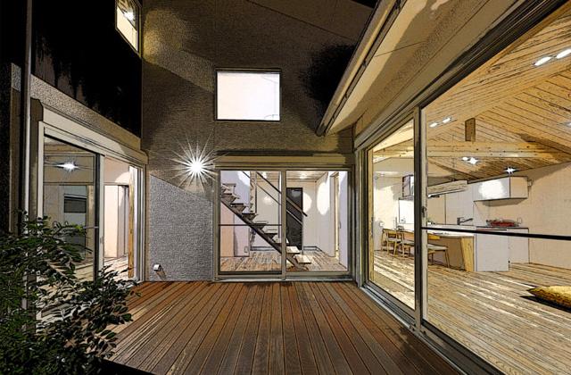 マル川建設 建築士とコラボしたコの字型の中庭のある家 (南九州市)