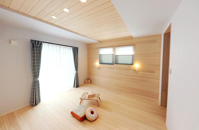 睡眠時の空気環境をもみの木できれいに整える寝室がある家 - もみの木ハウス・かごしま 建築事例