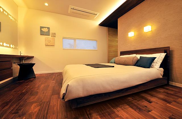 谷川建設 モデルハウス 落ち着いた雰囲気でゆっくりと心身の疲れを癒やす寝室