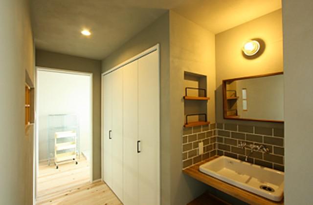 洗面スペース - ツマガリハウス 建築事例