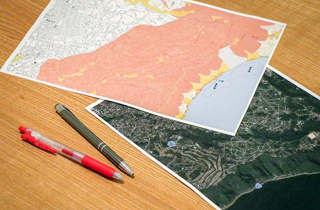 ヤマサハウスでは土地を決める際にハザードマップを確認して予想浸水率や土砂災害、津波のリスクを確認しています。