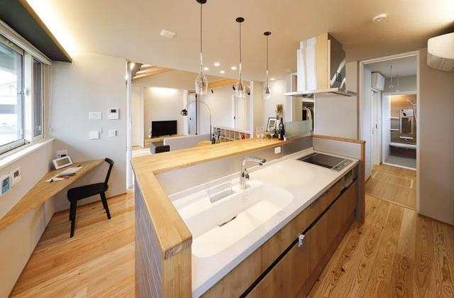 キッチン AIタウン天辰モデルハウス「これからの時代を考えた一歩先行くエポックな平屋」(薩摩川内市)